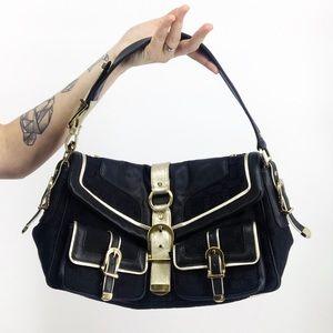 Versace Vintage Monogram Black Shoulder Bag